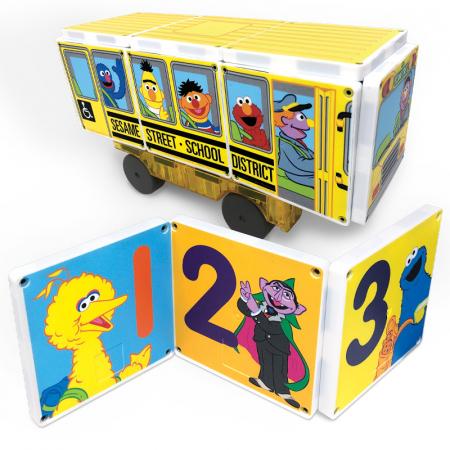 Set de constructie piese magnetice Autobuzul scolar Sesame Street CreateOn Magna-Tiles - Set 14 piese magnetice0