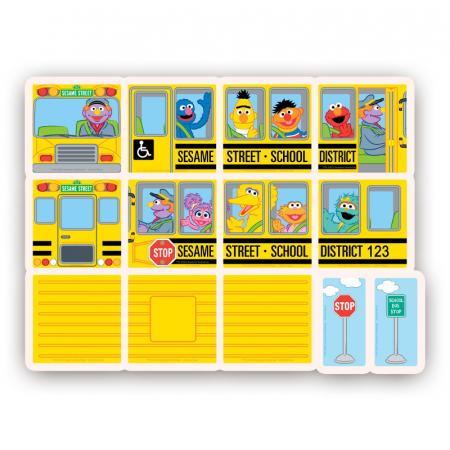 Set de constructie piese magnetice Autobuzul scolar Sesame Street CreateOn Magna-Tiles - Set 14 piese magnetice8