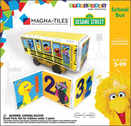 Set de constructie piese magnetice Autobuzul scolar Sesame Street CreateOn Magna-Tiles - Set 14 piese magnetice5