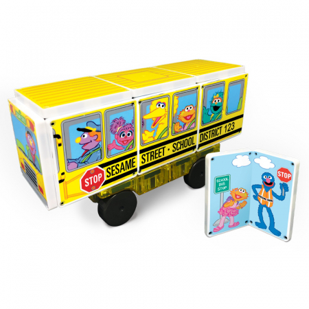 Set de constructie piese magnetice Autobuzul scolar Sesame Street CreateOn Magna-Tiles - Set 14 piese magnetice2