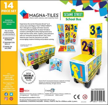 Set de constructie piese magnetice Autobuzul scolar Sesame Street CreateOn Magna-Tiles - Set 14 piese magnetice4