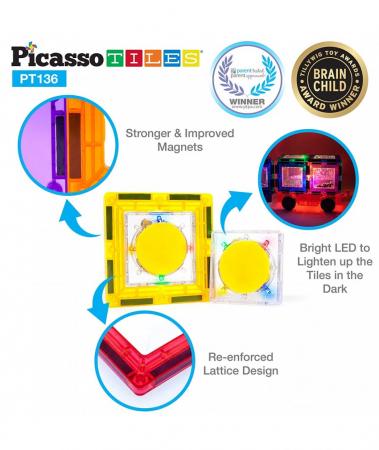 Set PicassoTiles Deluxe Combo Clip-In Extension - 136 Piese Magnetice De Constructie Colorate [2]