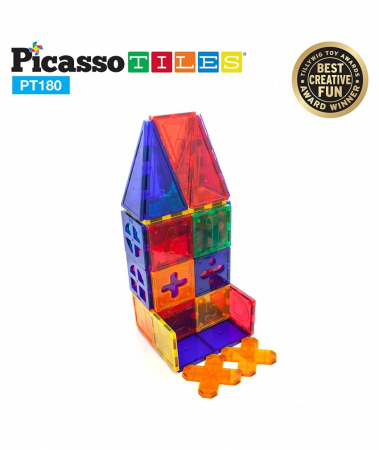 Set PicassoTiles Deluxe Combo - 180 Piese Magnetice De Constructie Colorate [0]
