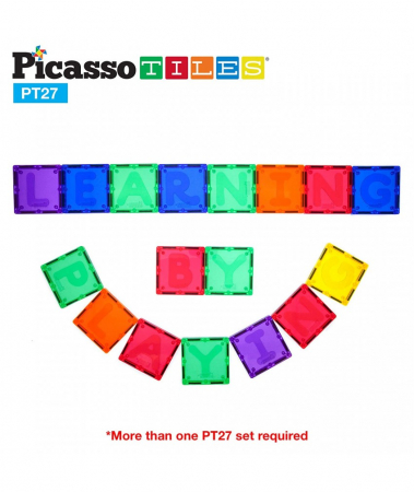 Set PicassoTiles Alfabet - 27 Piese Magnetice De Constructie Colorate [2]