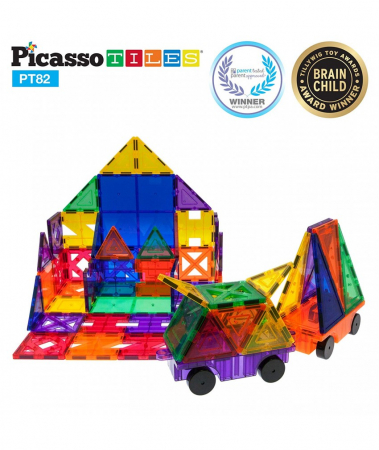 Set PicassoTiles Creativitate - 82 Piese Magnetice De Constructie Colorate - 10 Forme Diferite [2]