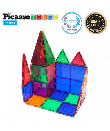 Set PicassoTiles - 60 Piese Magnetice De Constructie Colorate [0]
