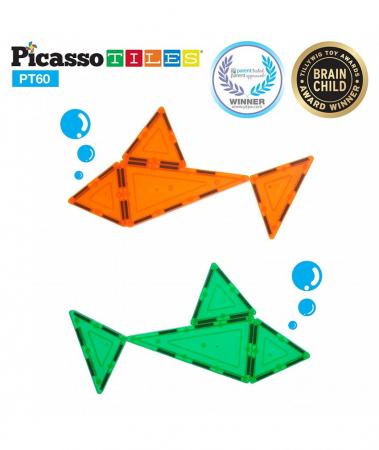 Set PicassoTiles - 60 Piese Magnetice De Constructie Colorate [1]