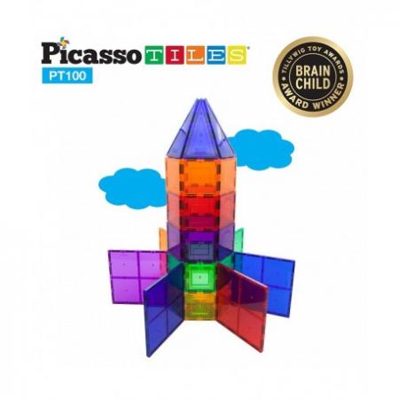 Set PicassoTiles - 100 Piese Magnetice De Constructie Colorate [2]