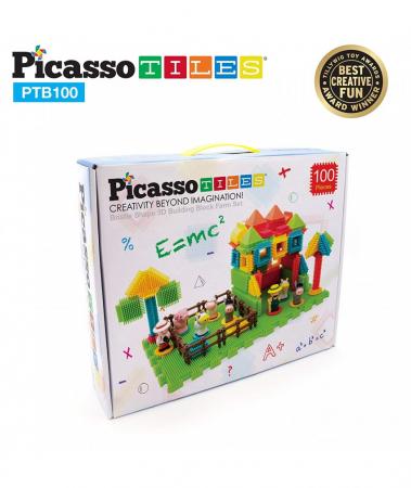 Set PicassoTiles Basic Bristle Shape Blocks Farm - 100 De Forme De Constructie ce se intrepatrund [1]