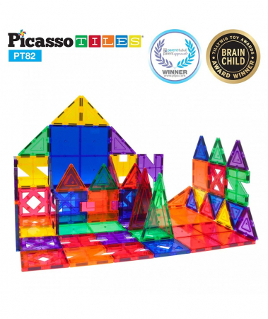 Set PicassoTiles Creativitate - 82 Piese Magnetice De Constructie Colorate - 10 Forme Diferite [4]