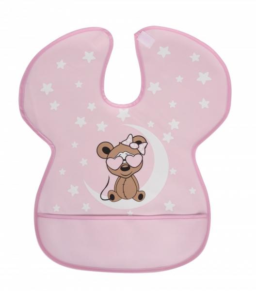 Baveta impermeabila cu protectii pentru umeri Sevi Baby Roz [0]