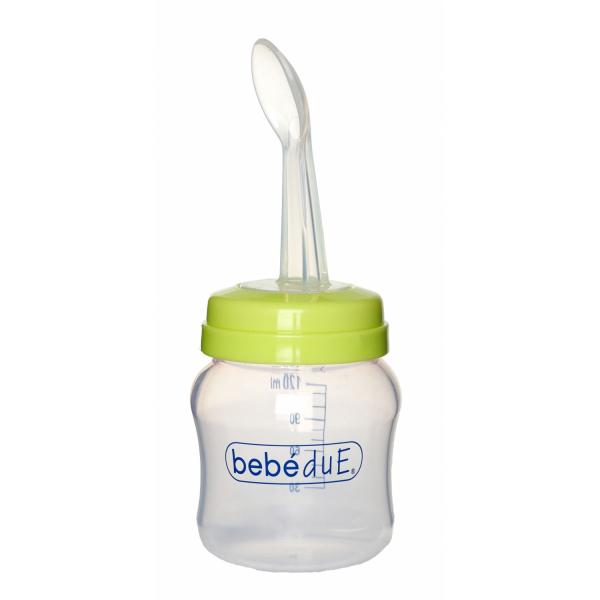 Biberon din silicon 120 ml cu lingurita BebeduE 80168 0
