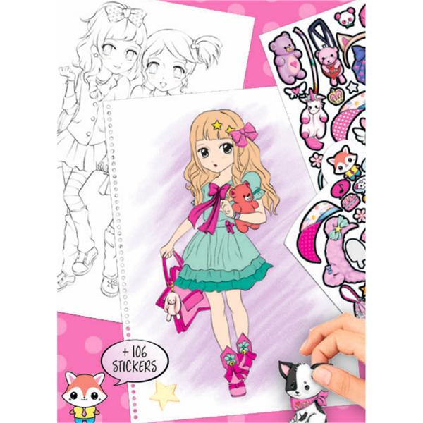 Carte de colorat + stickere Manga Model Depesche PT6581 1