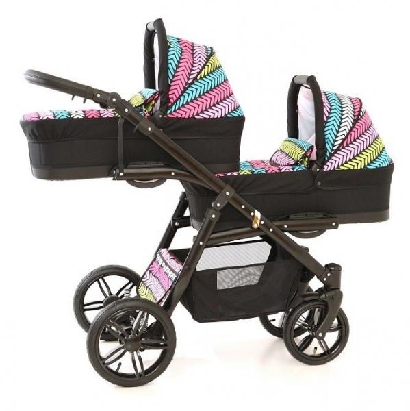 Carucior copii gemeni tandem 3 in 1, PJ STROLLER Lux, Multicolor [0]