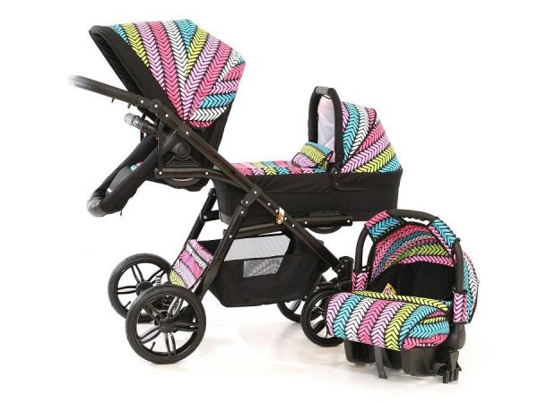 Carucior copii gemeni tandem 3 in 1, PJ STROLLER Lux, Multicolor [2]