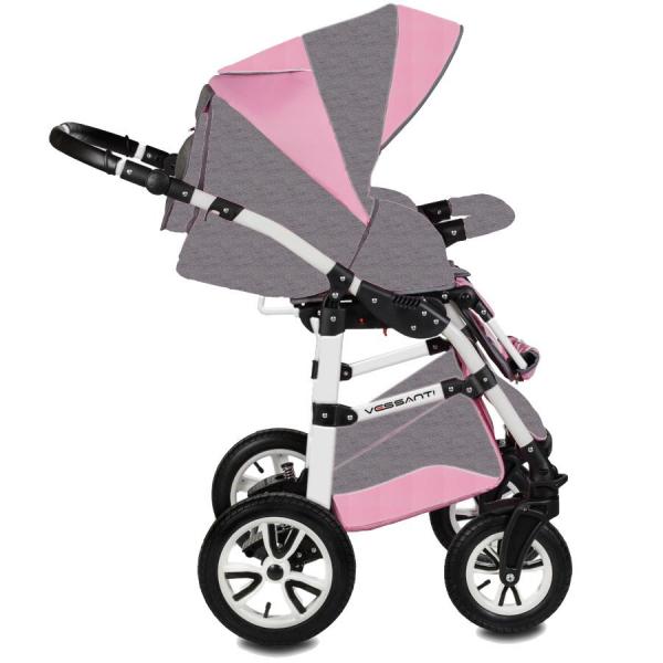 Carucior Flamingo Easy Drive 3 in 1 - Vessanti - Gray/Pink 2