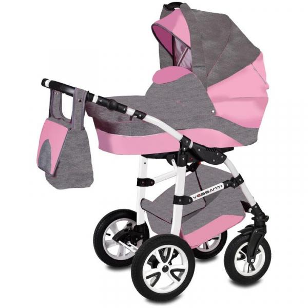 Carucior Flamingo Easy Drive 3 in 1 - Vessanti - Gray/Pink 0