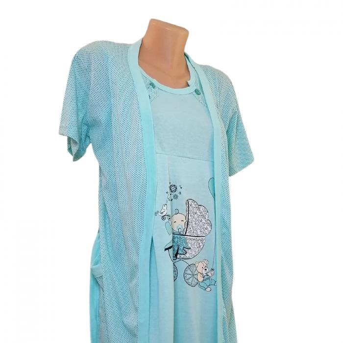 Compleu maternitate, Camasa alaptat + Halat gravide, Baby Stroller, Turquoise - Maneca scurta 1