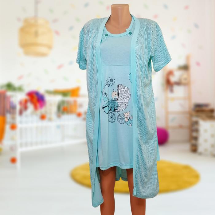 Compleu maternitate, Camasa alaptat + Halat gravide, Baby Stroller, Turquoise - Maneca scurta 0