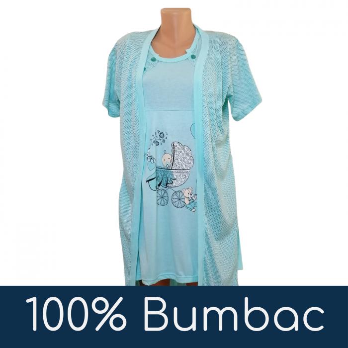 Compleu maternitate, Camasa alaptat + Halat gravide, Baby Stroller, Turquoise - Maneca scurta 4