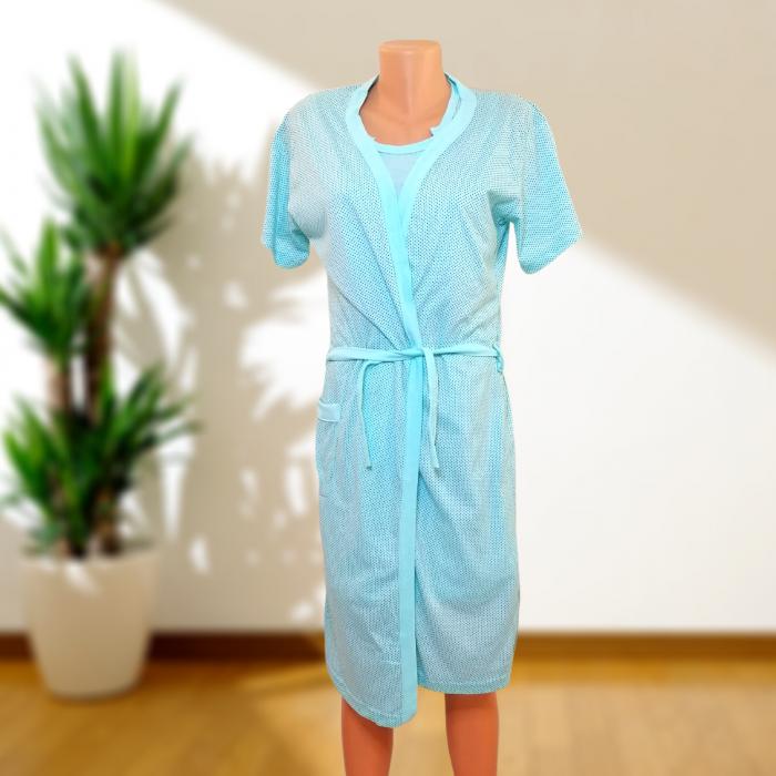 Compleu maternitate, Camasa alaptat + Halat gravide, Baby Stroller, Turquoise - Maneca scurta 3