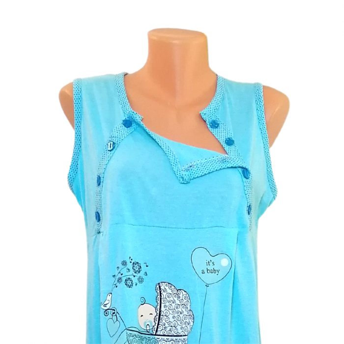 Compleu maternitate, Camasa alaptat + Halat gravide, Baby Stroller, Blue - Maneca scurta 1