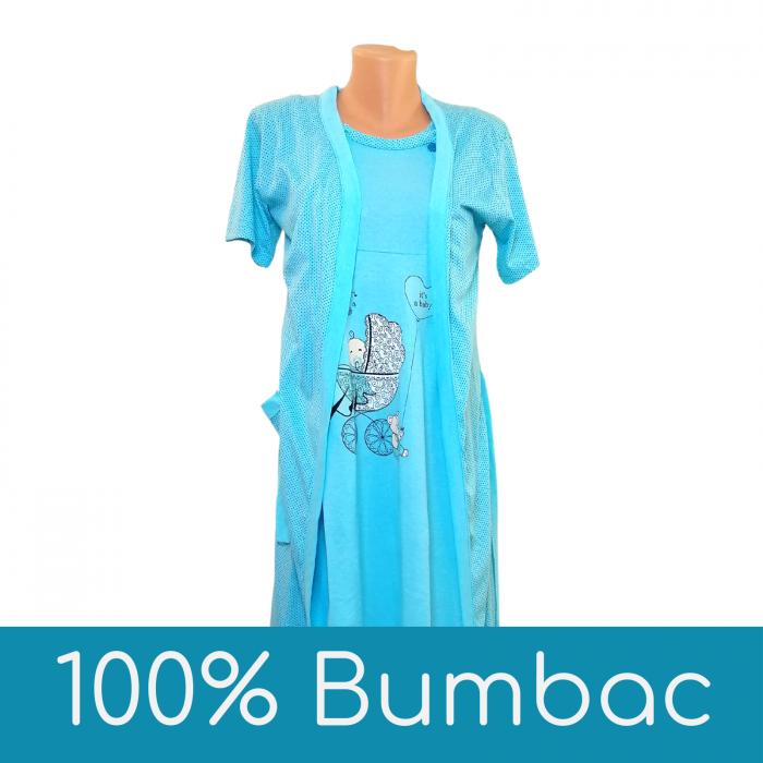 Compleu maternitate, Camasa alaptat + Halat gravide, Baby Stroller, Blue - Maneca scurta 0