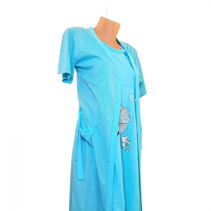 Compleu maternitate, Camasa alaptat + Halat gravide, Baby Stroller, Blue - Maneca scurta 2