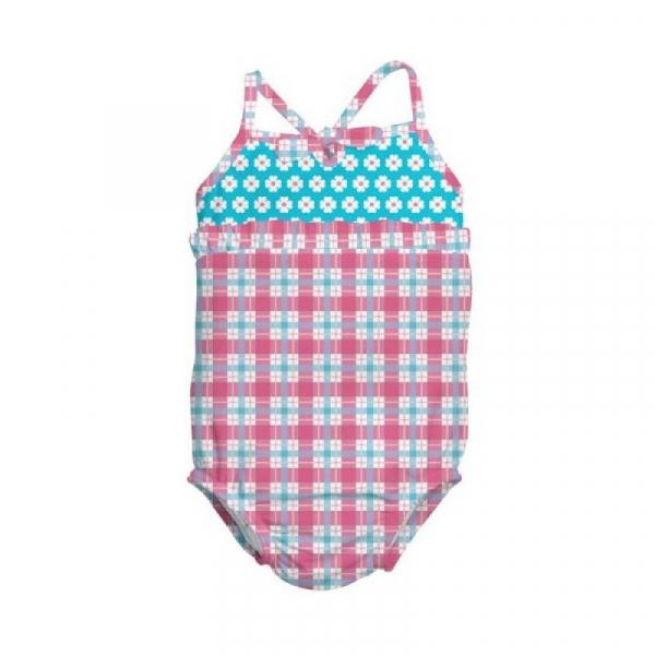 Costum de baie fetita cu scutec inot integrat IPlay Pink Squares 24 luni SPF50+ 0