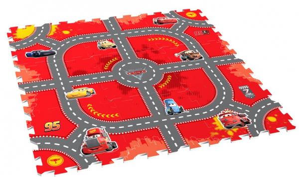 Covor puzzle din spuma Cars 3 Modular Race 9 piese 0