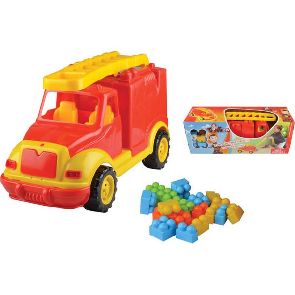 Masina pompieri 43 cm cu 38 piese constructie, in cutie Ucar Toys UC85 1