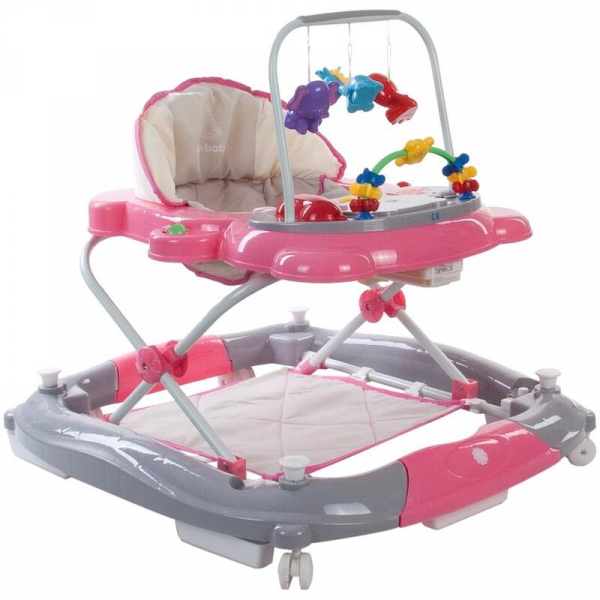 Premergator Pisicuta cu sistem de balansare - Sun Baby - Roz cu Gri 0