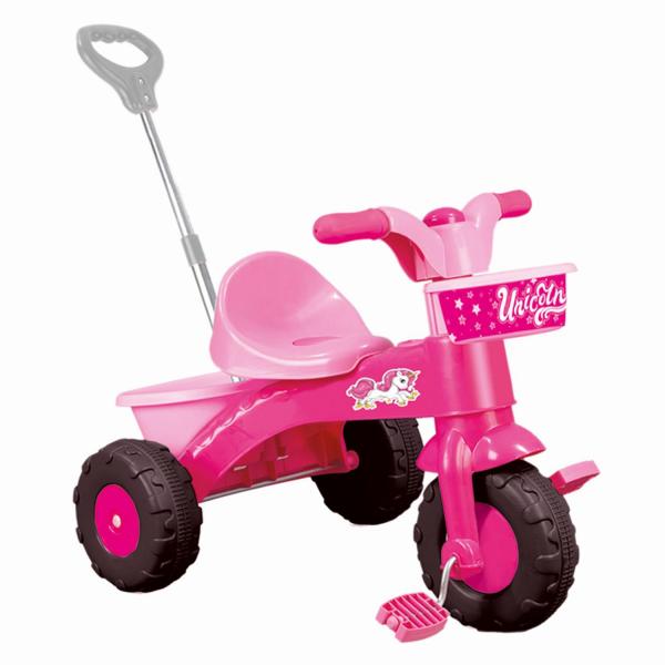 Prima mea tricicleta roz cu maner - Unicorn 0
