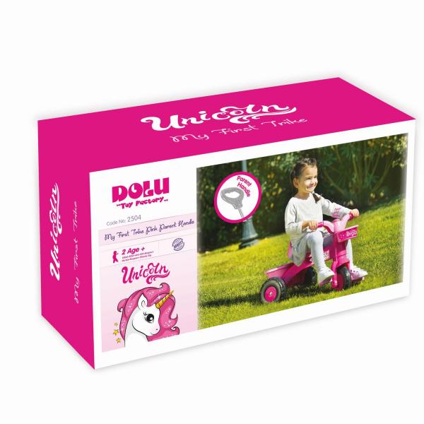 Prima mea tricicleta roz cu maner - Unicorn 2