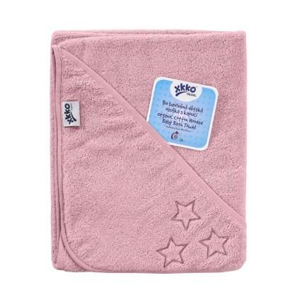 Prosop cu gluga bumbac organic Pink 90x90 cm XKKO [0]