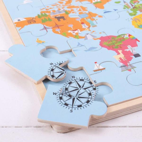 Puzzle din lemn - Harta lumii (35 piese) 2
