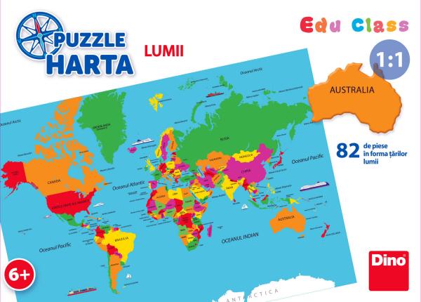 Puzzle geografic - Harta Lumii (82 piese) 1