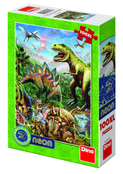Puzzle XL - Lumea dinozaurilor neon (100 piese) 0
