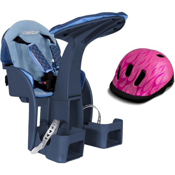 Scaun de bicicleta SafeFront Deluxe 2018 si Casca protectie Flames Roz WeeRide WR10R 0
