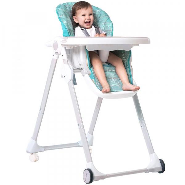 Scaun de masa Dora Baby cu 4 roti si spatar reglabil Eat&Sleep, Turcoaz [1]