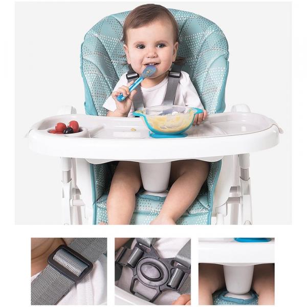 Scaun de masa Dora Baby cu 4 roti si spatar reglabil Eat&Sleep, Turcoaz [2]