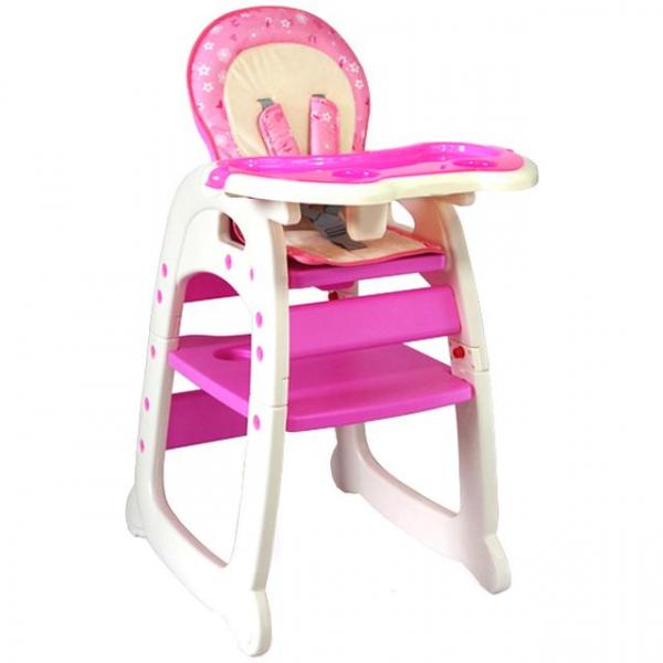 Scaun de masa multifunctional Baby Place, Mamakids, Roz cu Fluture 0