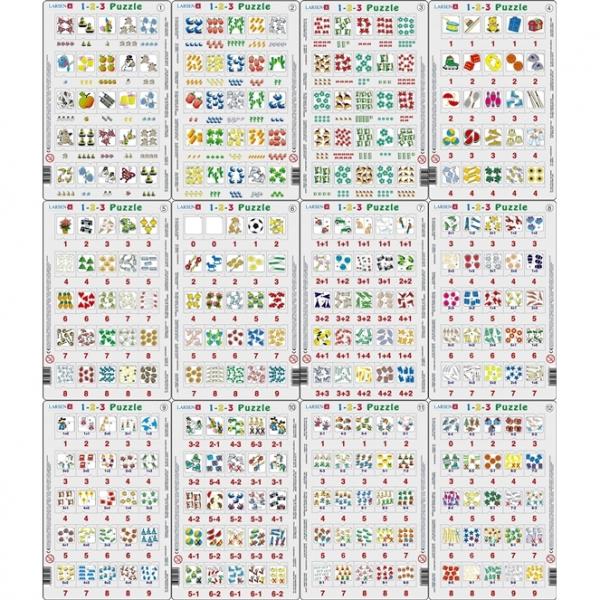 Set 12 Puzzle-uri 1-2-3, 25 Piese Larsen LRP46 0
