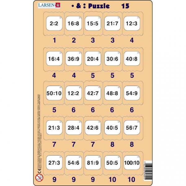 Set 16 Puzzle-uri Inmultire si Impartire, 25 Piese Larsen LRP49 15
