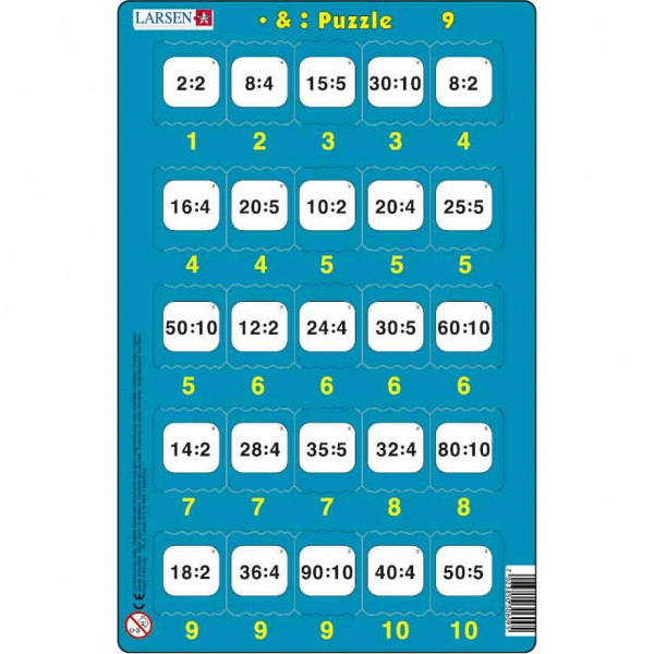 Set 16 Puzzle-uri Inmultire si Impartire, 25 Piese Larsen LRP49 9