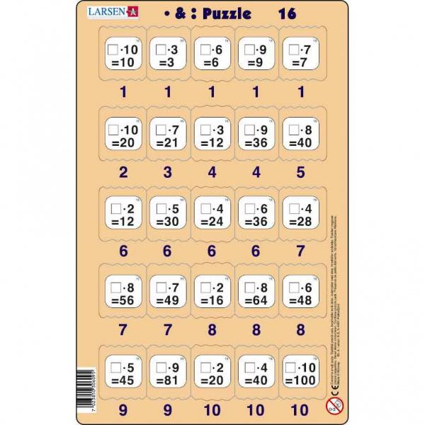 Set 16 Puzzle-uri Inmultire si Impartire, 25 Piese Larsen LRP49 16