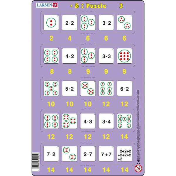 Set 16 Puzzle-uri Inmultire si Impartire, 25 Piese Larsen LRP49 3