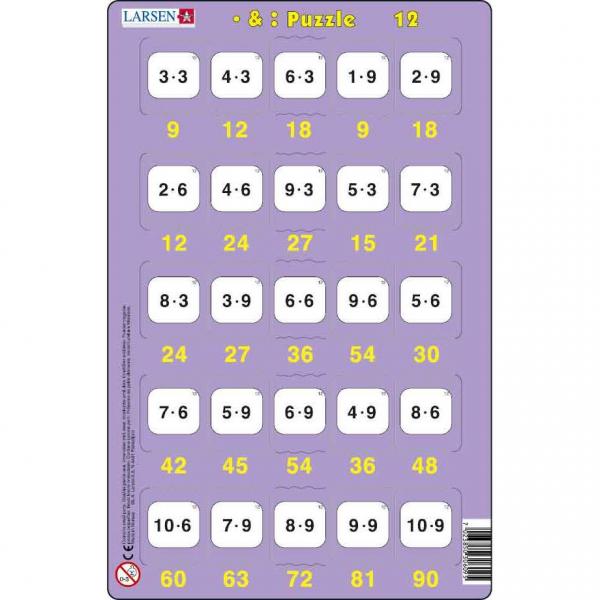Set 16 Puzzle-uri Inmultire si Impartire, 25 Piese Larsen LRP49 12