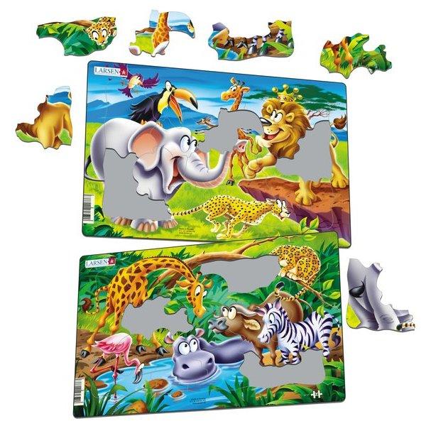 Set 2 Puzzle-uri Safari, 14 piese Larsen LRU11 1