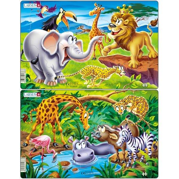Set 2 Puzzle-uri Safari, 14 piese Larsen LRU11 0
